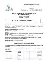 Délibération du conseil municipal 11-2014. affectation des résultats 2013