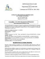 Délibération du conseil municipal 14-2014.RPI Bois de l'Isle